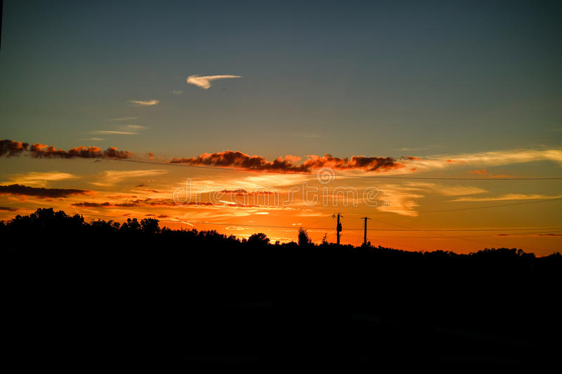 Colorful sunset. Sunset in the summer time royalty free stock images