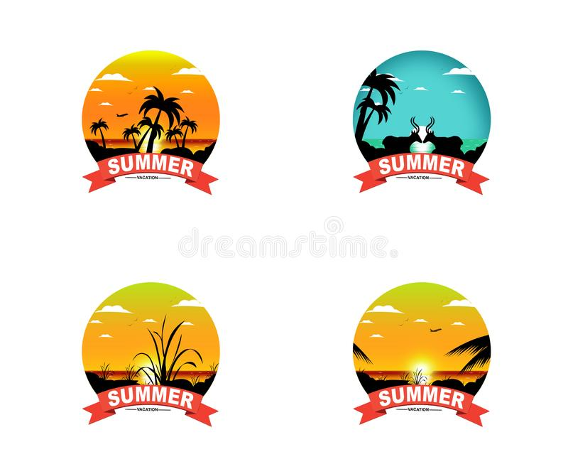 Colorful Sunset Summer Vacation Design Collection - A set of style Summer Designs on Tropical Beach Background. stock illustration