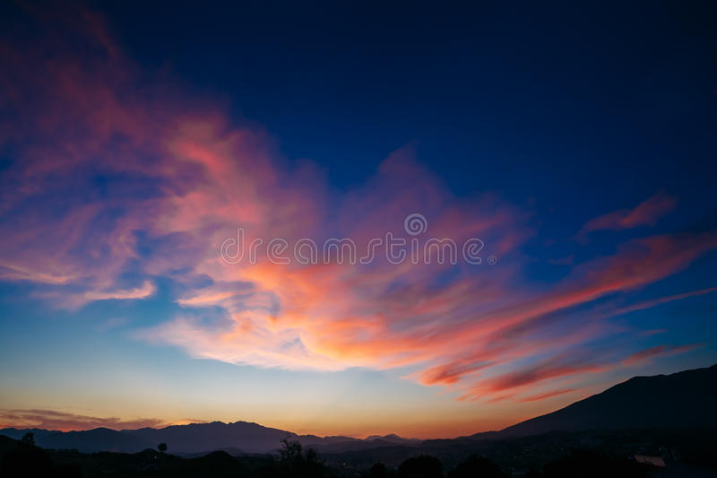 Colorful Sunset, Sunrise over Mountains Background. Blue, Red, stock images