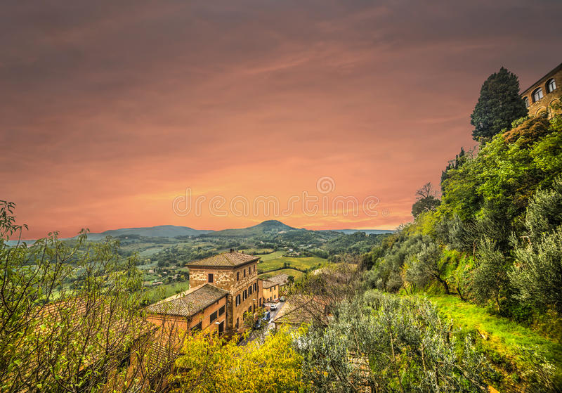 Colorful sunset in Tuscany. Italy stock photography