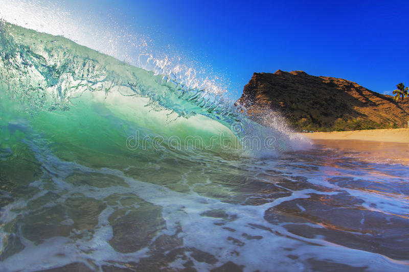 Colorful Surfing Wave Lit with sunlight in Pacific Ocean in Maui. Beautiful Ocean Background Big Shorebreak Wave for Surfing. Hawaiian swell for sport activity royalty free stock photos