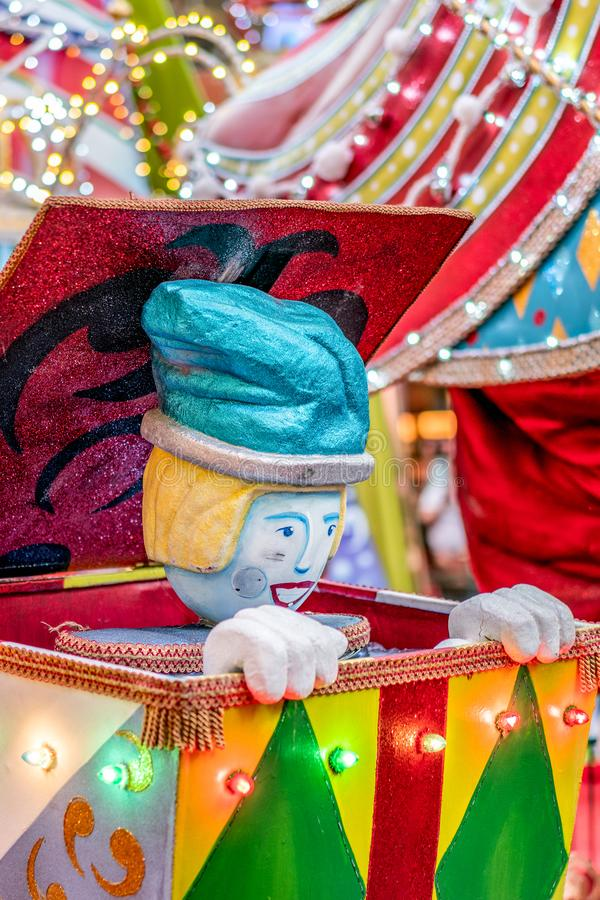 Colorful Surprise Jack in the Box Christmas decoration background. Colorful Surprise Jack in the Box with sparkle Clown Christmas decoration background royalty free stock images