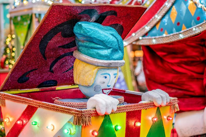 Colorful Surprise Jack in the Box Christmas decoration background. Colorful Surprise Jack in the Box with sparkle Clown Christmas decoration background stock images