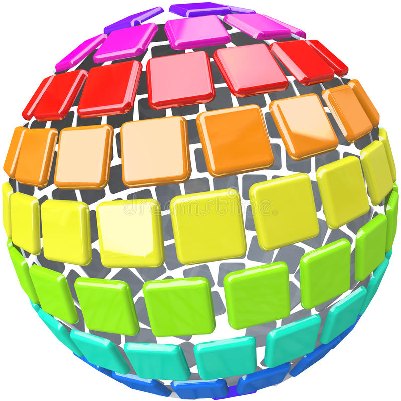 Colorful Swatches In Globe Sphere Pattern Stock Photography