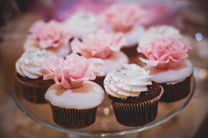 Colorful sweet cupcakes on plate . royalty free stock photos