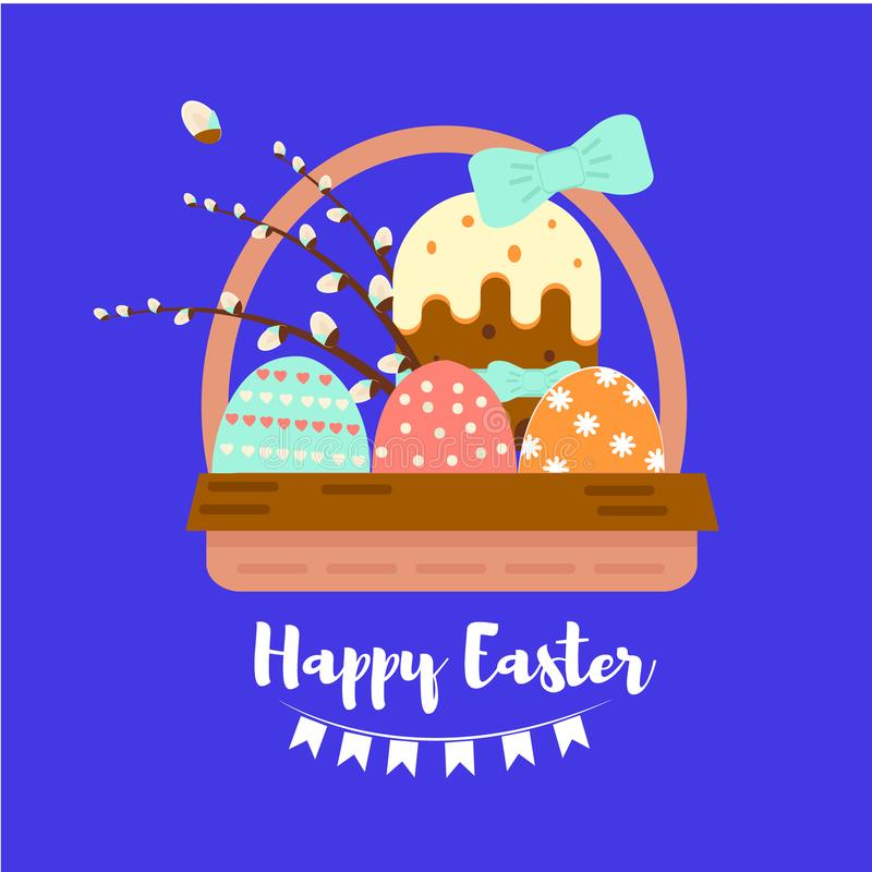 Colorful sweet Happy Easter greeting card with banny, rabbit, eggs and cake. Template for banner, postcard or sticker, design elem stock illustration