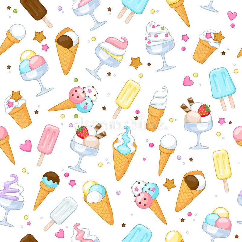 Cute Colorful Ice Cream Seamless Pattern Background: Colorful Sweet Ice Cream Icons Background Stock Vector