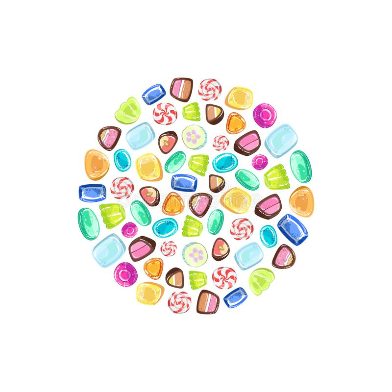 Colorful Sweetmeats in Circular Shape, Candy Shop Design Element Vector Illustration stock illustration