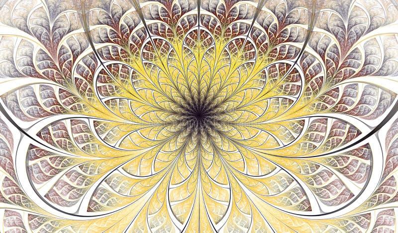 Colorful Symmetrical fractal flower. Digital artwork for creative graphic design. Floral pattern royalty free illustration