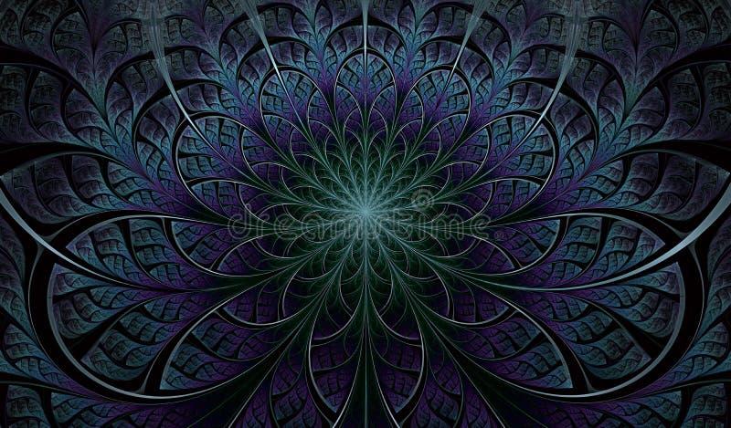 Colorful Symmetrical fractal flower. Digital artwork for creative graphic design. Floral pattern stock illustration