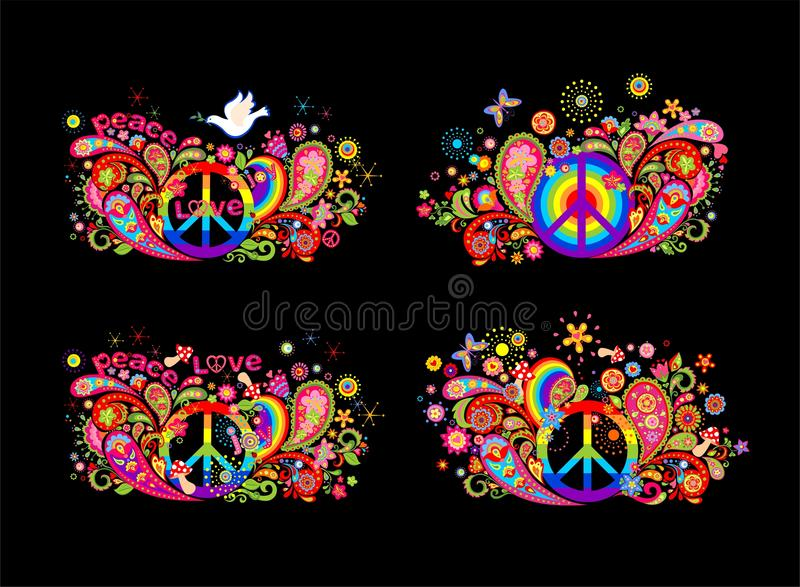 Colorful t shirt prints collection with hippie peace symbol, flying dove with olive branch, abstract flowers, mushrooms, paisley a. Nd rainbow on black royalty free illustration