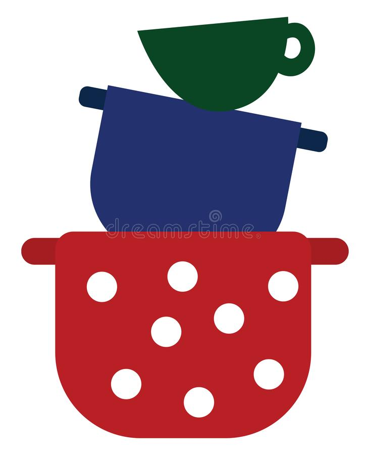 Clipart of the colorful tablewares piled one above the other, vector or color illustration. A colorful tablewares like big saucepans in red and blue colors, and vector illustration