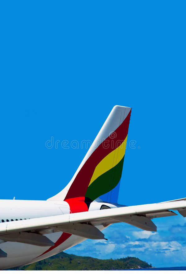 The colorful tail of airplane. royalty free stock images