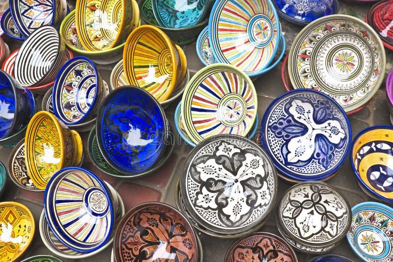 Colorful Tajines for sale stock photos