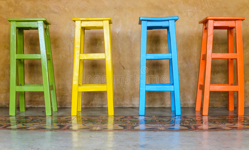 Superb Download Colorful Tall Wooden Chair Stock Photo. Image Of Color   51218870
