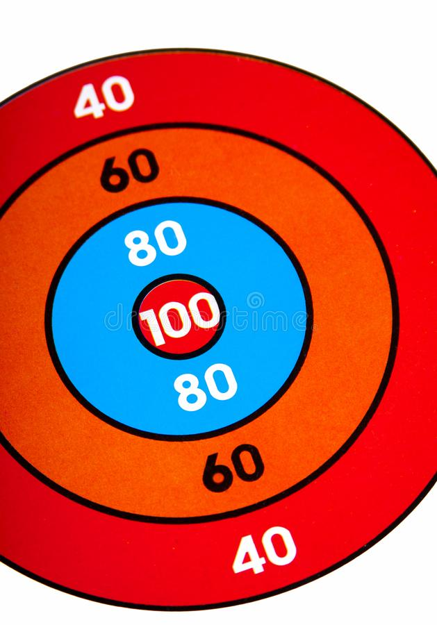 Colorful target arrow game dartboard with numbers, symbol of goal achievement, success, occasion, bargain hunting concept. Colorful target arrow game dartboard royalty free stock photography