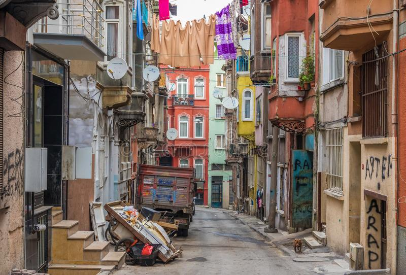 The colorful Tarlabasi district. Istanbul royalty free stock images