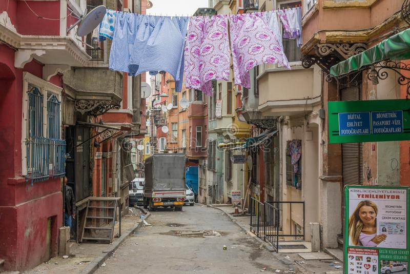 The colorful Tarlabasi district. Istanbul royalty free stock photography