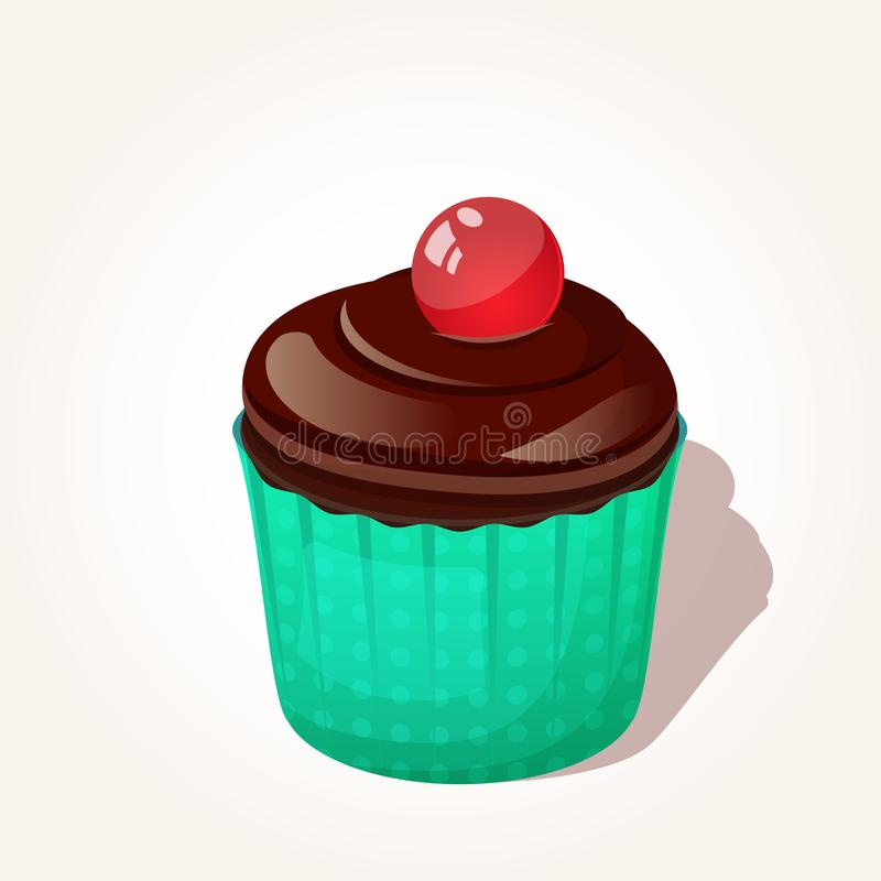 Colorful tasty chocolate cupcake with jelly ball in cartoon style isolated on white background. Vector illustration. For Desserts Collection royalty free illustration