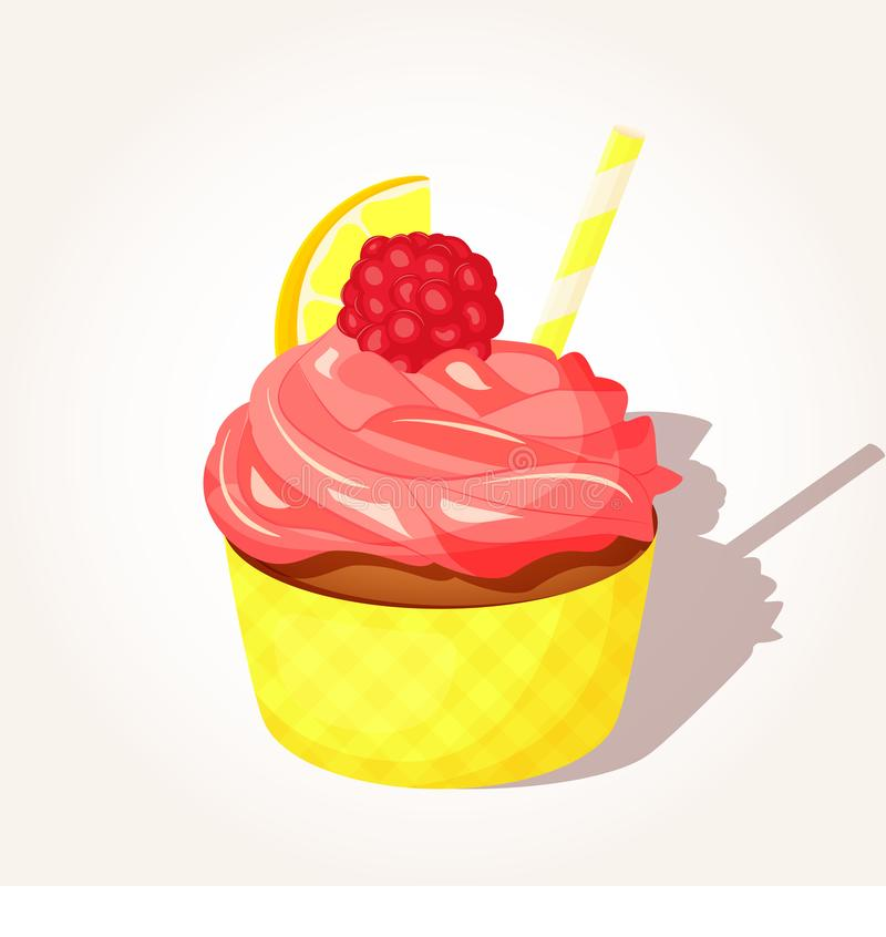 Colorful tasty lemon cupcake with pink cream and raspberry in cartoon style isolated on white background. Vector royalty free illustration