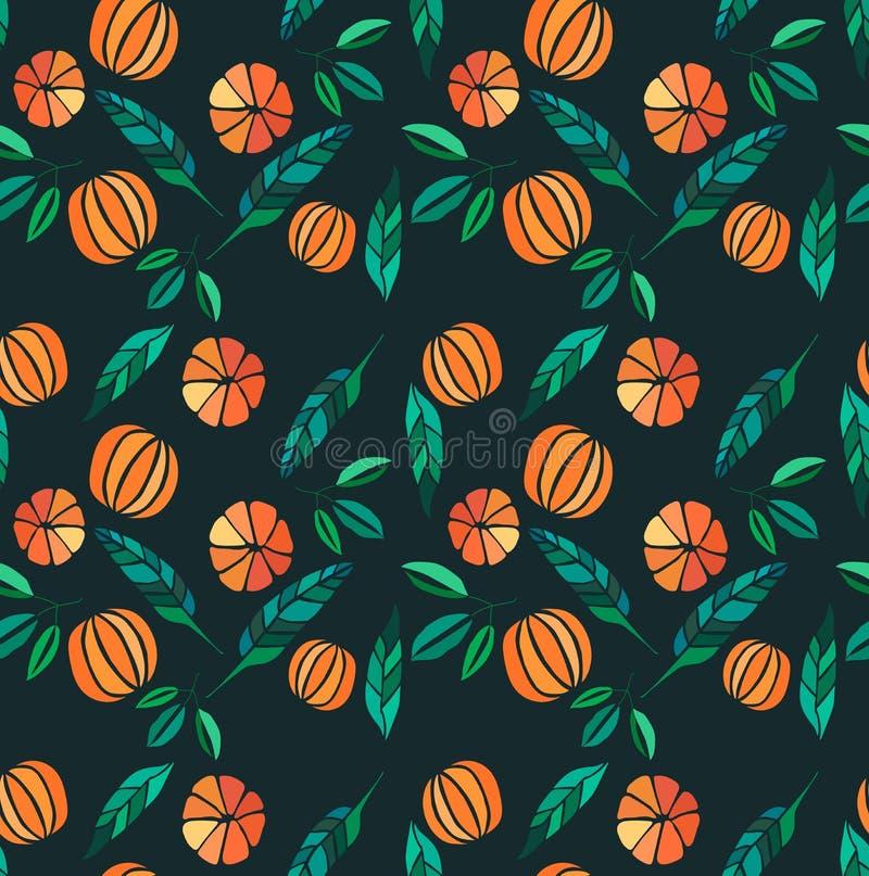 Colorful tasty yummy ripe juicy lovely orange summer autumn dessert slices of oranges and mandarins pattern on black background ve. Ctor illustration. Perfect vector illustration