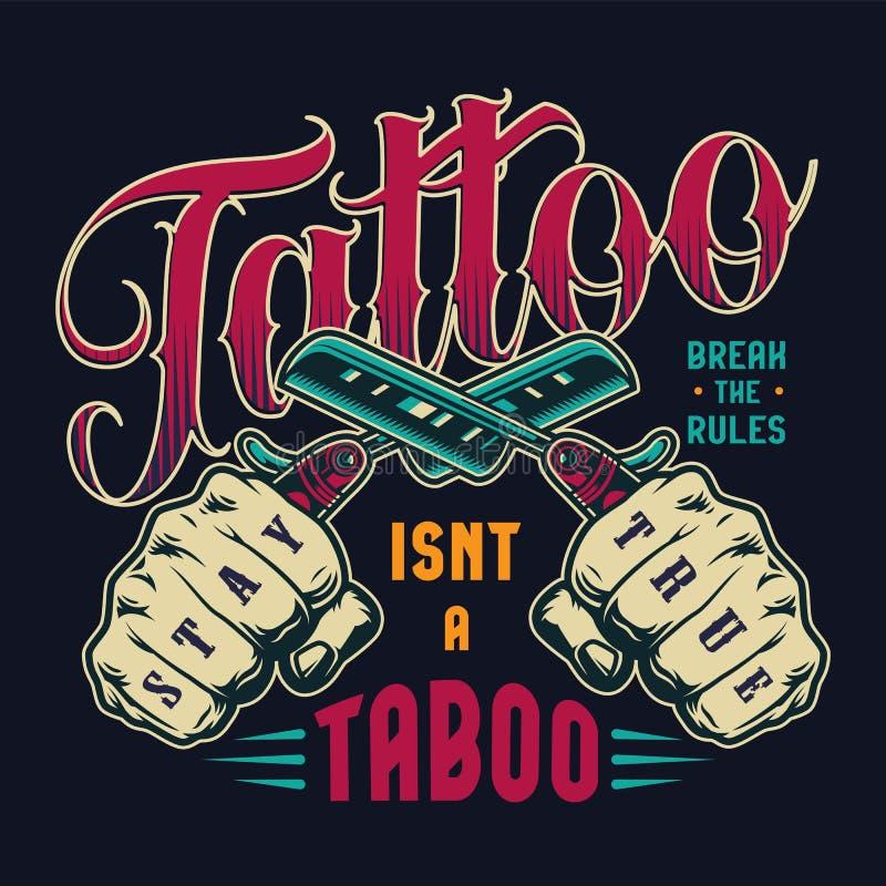 Vintage Tattoo Salon Colorful Emblem:  Tattoo Salon Vintage Monochrome Print Stock Vector