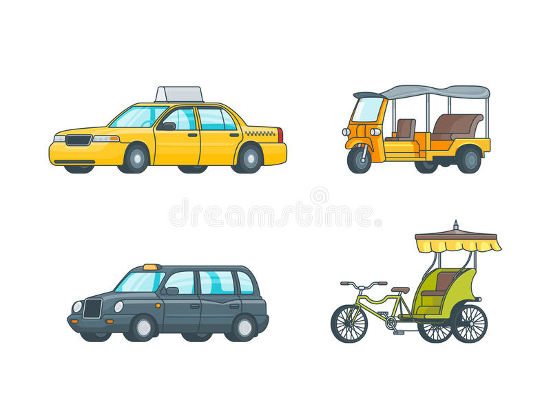 Colorful Taxi Transport Collection stock illustration