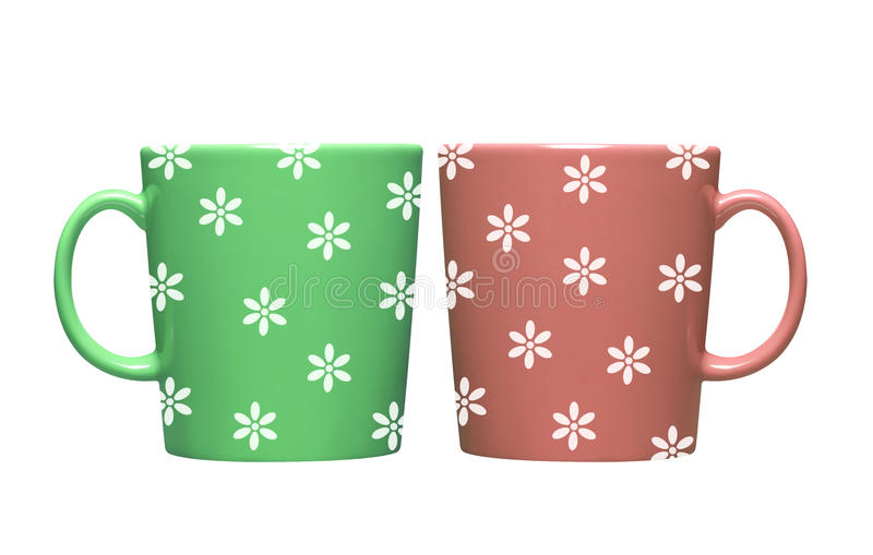 Colorful tea cup isolated on white. Background stock photography
