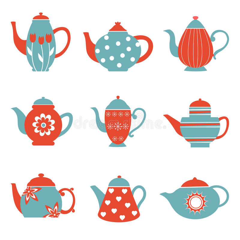 Colorful tea pots collection royalty free illustration