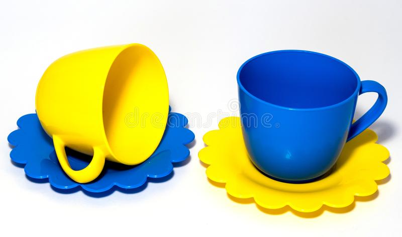 Colorful tea-set toy royalty free stock images