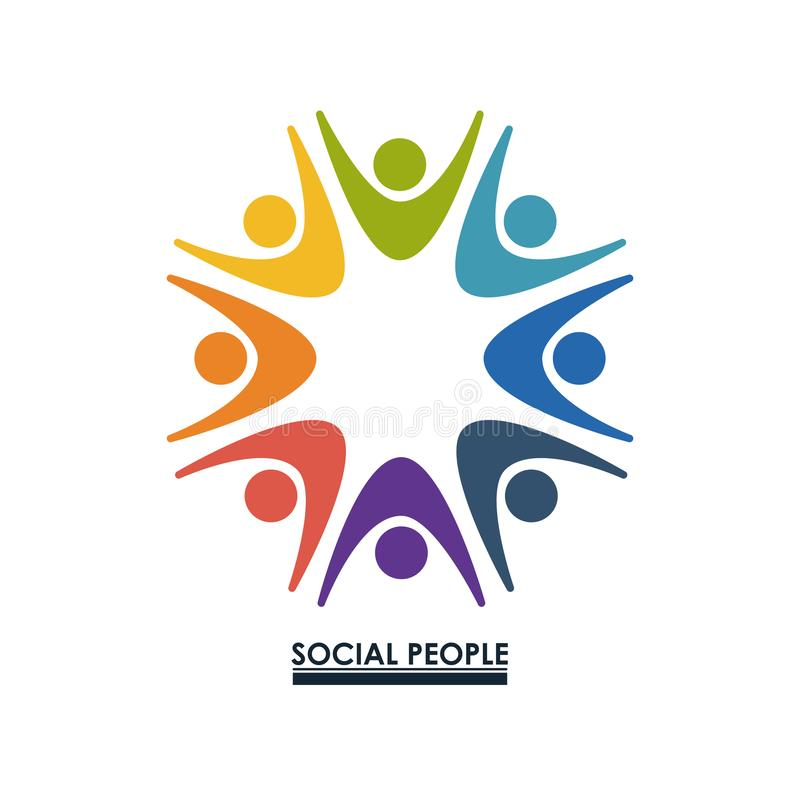 Colorful teamwork with hands up social people vector illustration