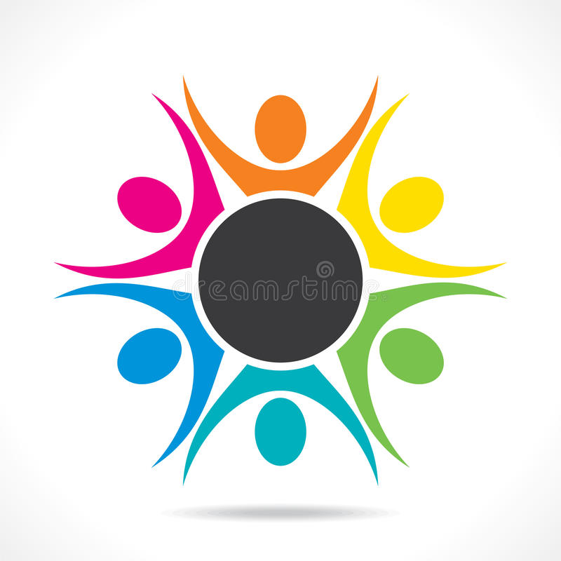 Colorful teamwork or unity design concept royalty free illustration