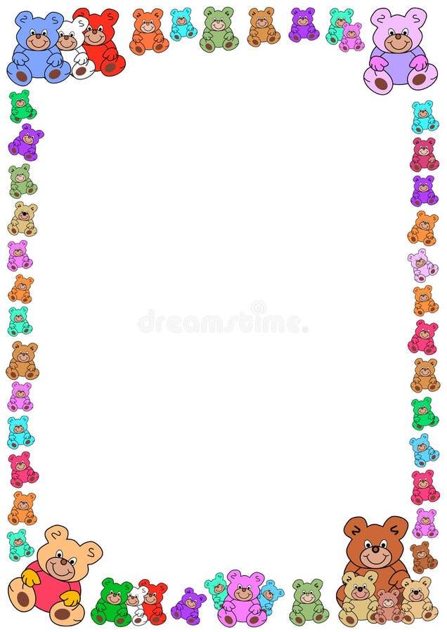 Colorful teddies border stock photo