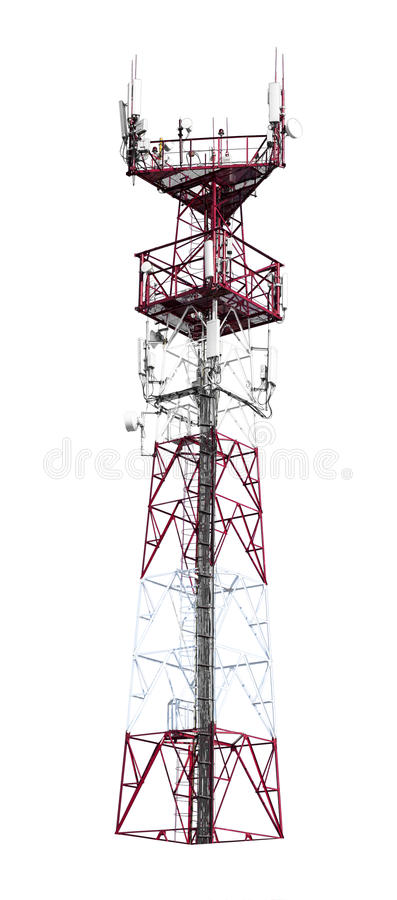 Colorful telecommunication tower. With stairs on isolated white background royalty free stock photo