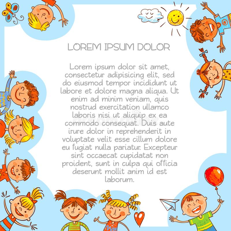 Colorful template for advertising brochure in Baby style. Cute kids. Colorful template for advertising brochure in style of children`s drawings. Ready for your stock illustration
