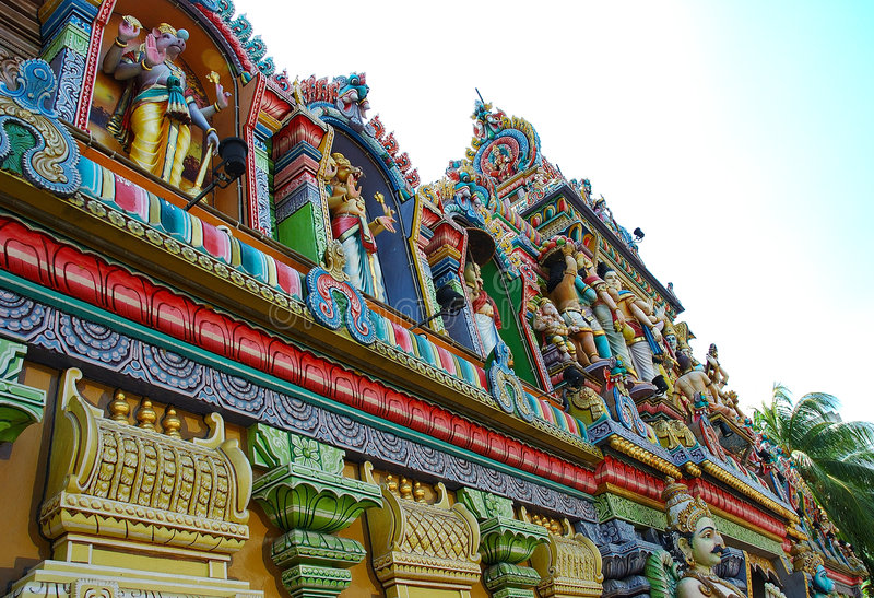 Colorful Temple. An indian temple with all the colour figuring or god stock photography