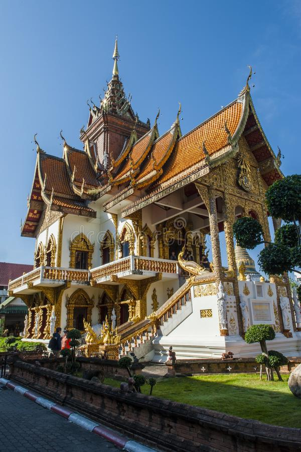 Colorful temples of Chiang Mai. Chiang Mai is the second largest city in Thailand. As the capital of the Lanna Kingdom, Chiang Mai exudes a charming classical royalty free stock photography
