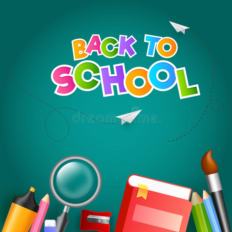 Colorful text Back To School with paper plane and education supplies element such as book, magnifying glass, colored pencil on stock illustration