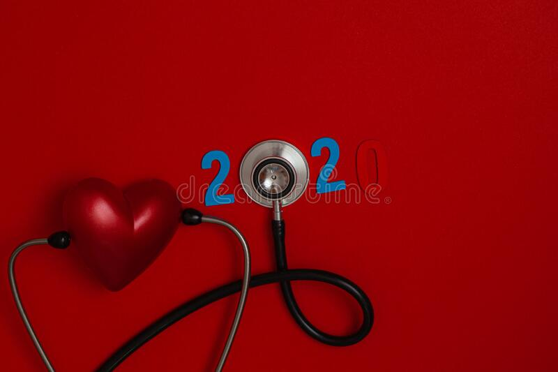 Colorful On Text 2020 Banner For Health Care And Red Heart Love Medical Concept Black Stethoscope On Table Red Background Stock Image Image Of Heart Design 178188939