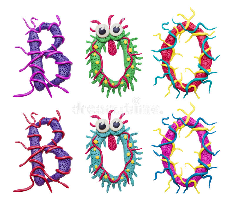 Colorful text Boo. A photo of a colorful cartoon clay text 'Boo' for Halloween or other events royalty free illustration