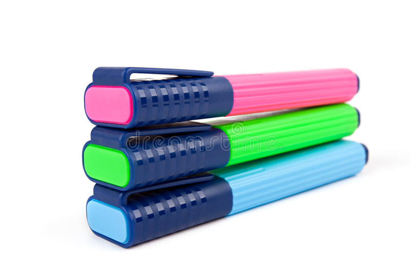 Colorful text highlighter pens stock photo