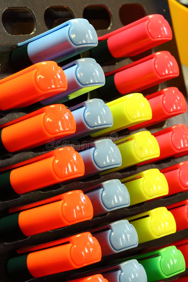 Colorful text markers stock images