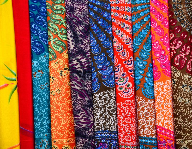 Colorful textile at Asian street market royalty free stock images