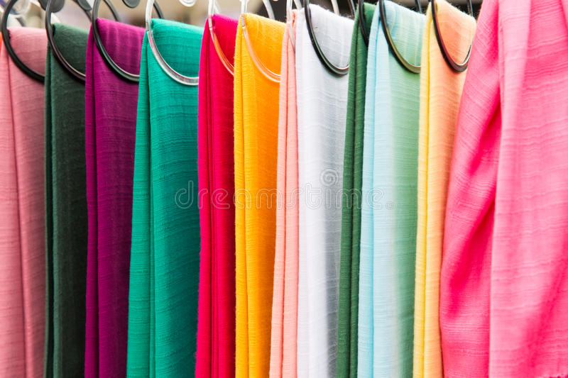 Colorful textile at asian street market stock images