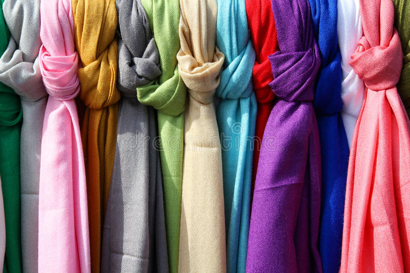 Colorful textiles. Colorful scarves at a market in Italy. Colors of textiles stock image