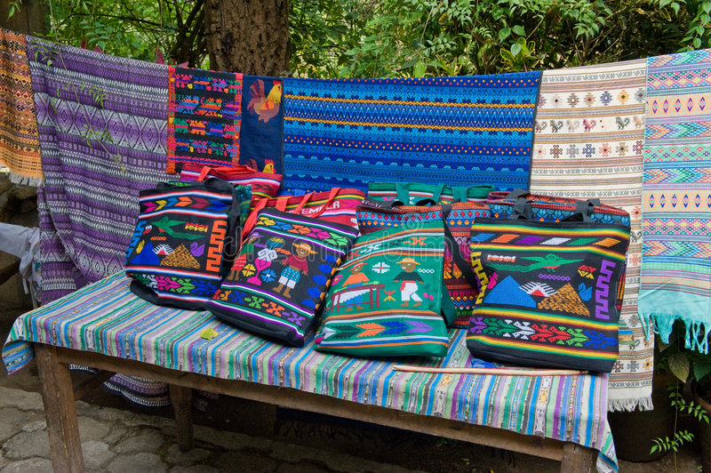 Colorful textiles. Close up of assortment of colorful hand crafted South American textiles, Guatemala royalty free stock photos