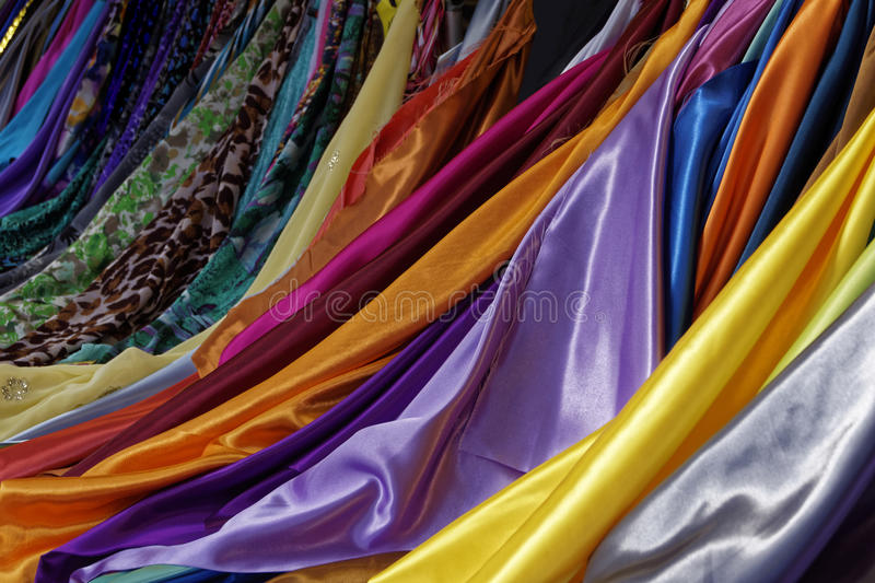 Colorful textiles. A closeup from colorful textiles royalty free stock photo
