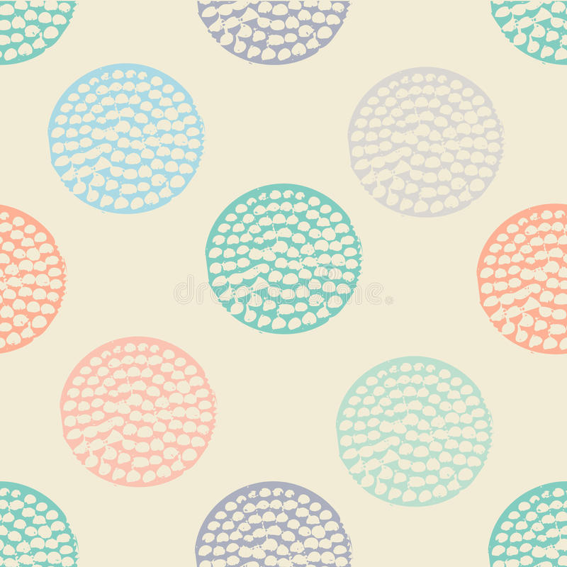 Colorful textured circle seamless pattern, blue, pink, orange, beige round grunge polka dot, wrapping paper. vector illustration