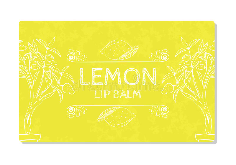 Colorful textured label, sticker for cosmetic products. Packaging design lipstick lemon. Vector royalty free illustration