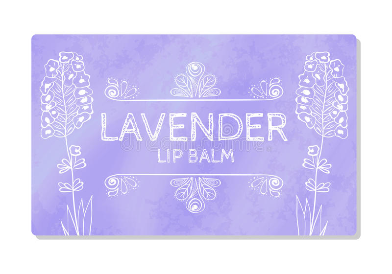 Colorful textured label, sticker for cosmetic products. The packaging design of the lipstick with the taste of lavender. Vector stock illustration